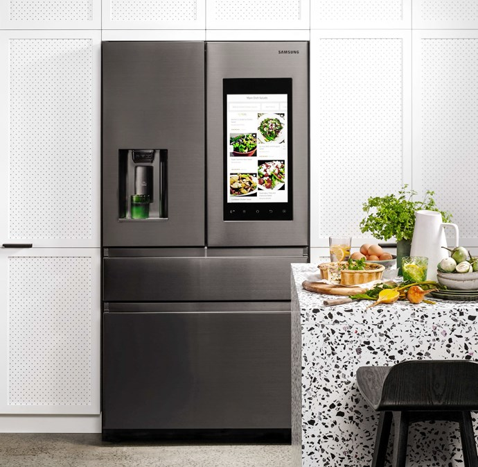 With a black stainless steel finish and customised drawers, the Samsung Family Hub 3.0 Fridge, is both stylish and practical. *Image / supplied*