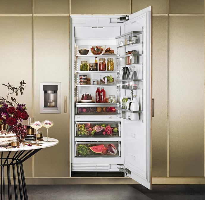 Taking freshness to the next level, the Miele Integrated All Fridge and Freezer hosts a smart dynamic cooling system, delivering the perfect amount of air moisture. *Image / supplied*