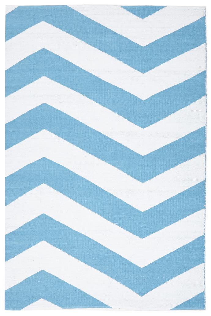 """Network Rugs 'Merey' recycled-PVC **rug** in turquoise, $119, from [Temple & Webster](https://www.templeandwebster.com.au/Merey-Recycled-Turquoise-Rug-NETW6235.html