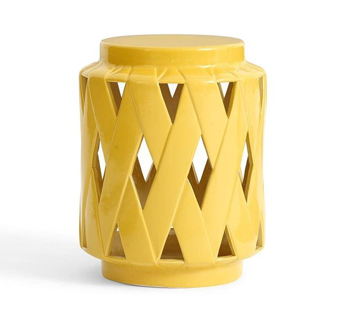 """'Lattice' ceramic **side table** in yellow, $211.20, from [Pottery Barn](http://www.potterybarn.com.au/lattice-ceramic-accent-table?quantity=1&attribute_1=Yellow