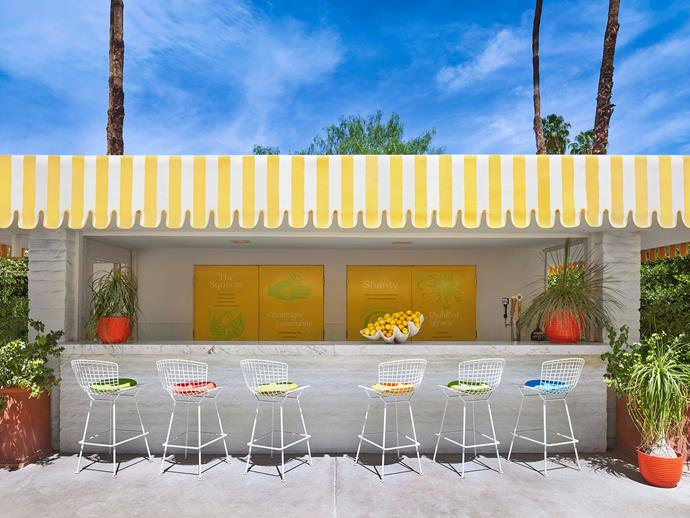 """**Palm Springs soiree**: Summon a little glamour for the patio or poolside with modern-leaning designs in sunny colours and cheery prints. *Photo courtesy of [The Parker Palm Springs](https://www.parkerpalmsprings.com/home/