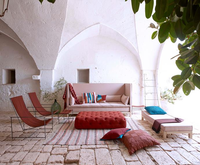 """**Moroccan Moment**: For an [outdoor zone](https://www.homestolove.com.au/outdoor-living-rooms-6384