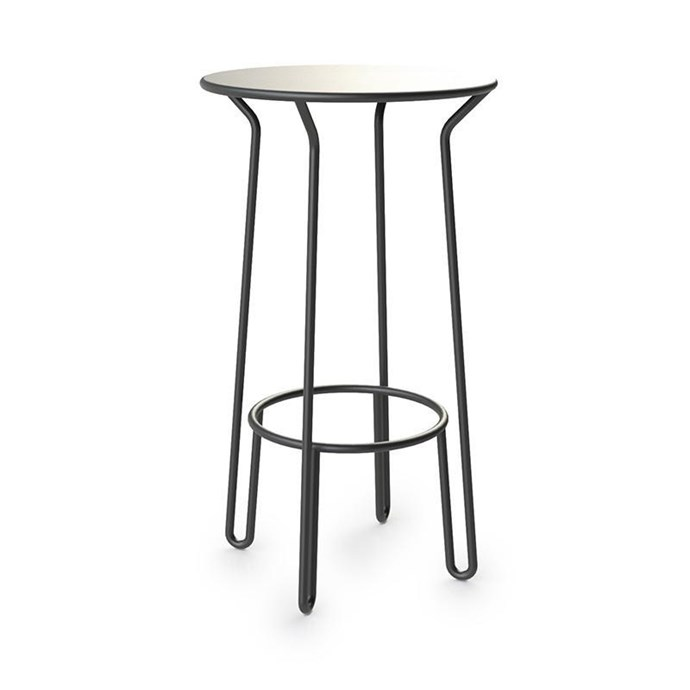 "Maiori 'Huggy' aluminium **bar table** in charcoal, $825, from [Curious Grace](https://curiousgrace.com.au/products/maiori-huggy-bar-table|target=""_blank""