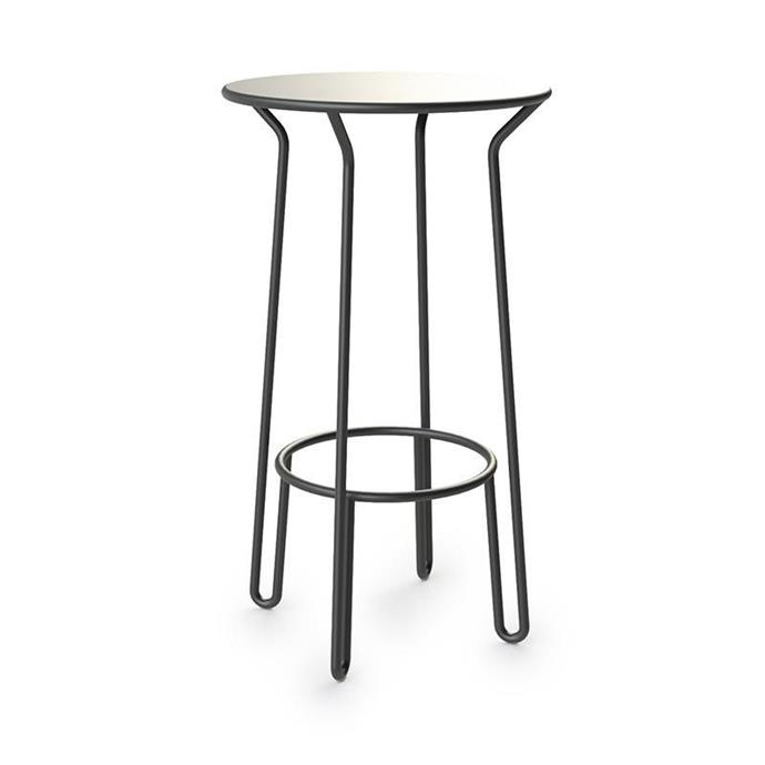 "Maiori 'Huggy' aluminium **bar table** in charcoal, $825, from [Curious Grace](https://curiousgrace.com.au/products/maiori-huggy-bar-table|target=""_blank""|rel=""nofollow"")."