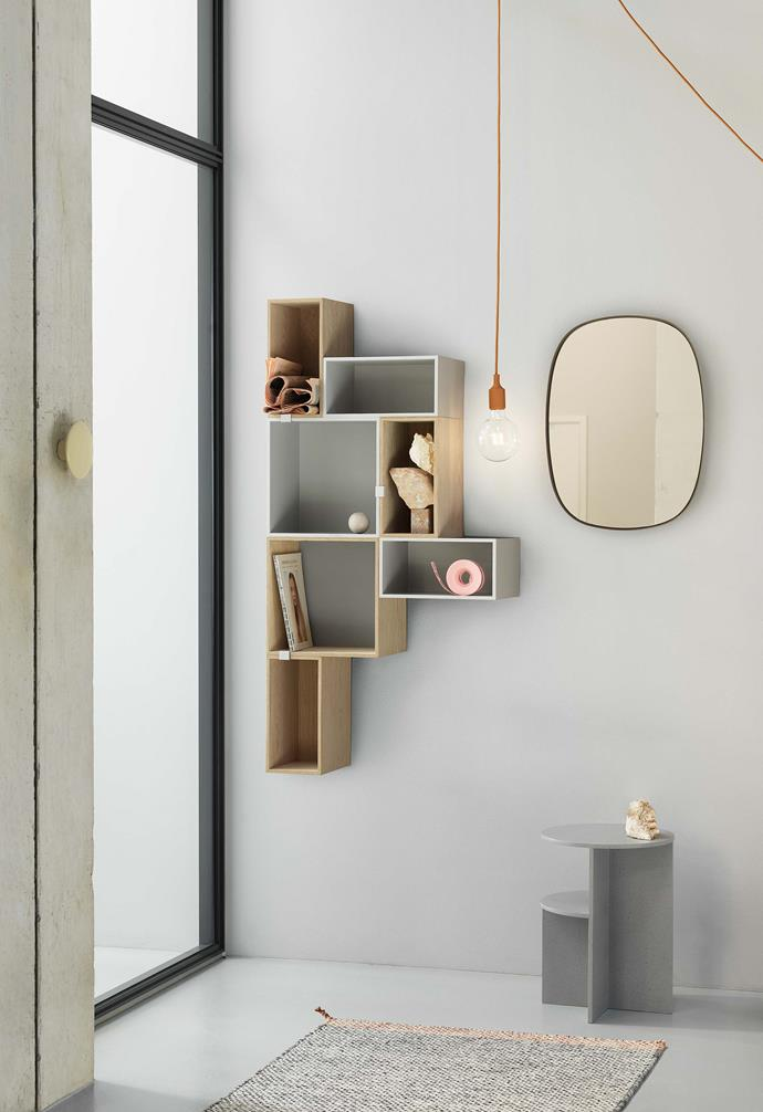 "**Keep it organised** Muuto 'mini stacked' shelving system in oak & light grey, $1460, & Muuto 'halves' side table, $605, [Living Edge](https://livingedge.com.au/|target=""_blank""