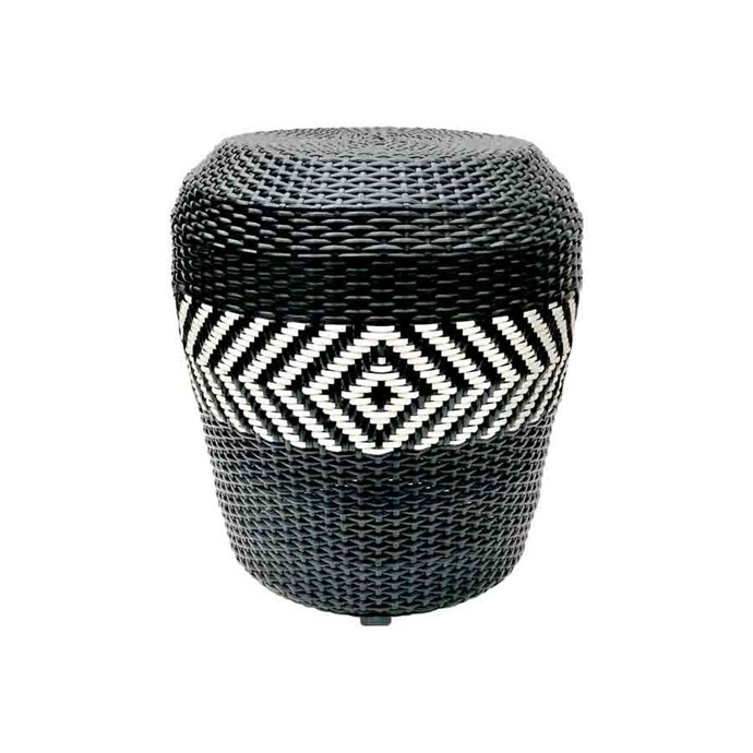 "'Zulu' synthetic-wicker stool, $690, from [Satara](https://www.satara.com.au/furniture-1/indoor-furniture/low-stools-and-benches/fsl103-zulu-stool|target=""_blank""