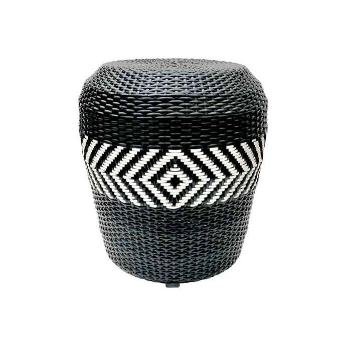 "'Zulu' synthetic-wicker stool, $690, from [Satara](https://www.satara.com.au/furniture-1/indoor-furniture/low-stools-and-benches/fsl103-zulu-stool|target=""_blank""|rel=""nofollow"")."