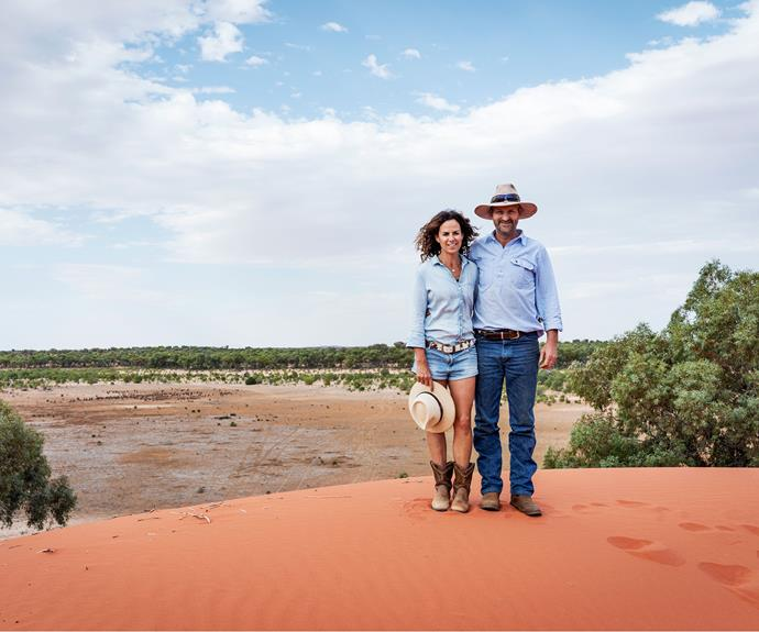 Zanna and Matt Gale on a sandhill at their 65,000-hectare sheep and cattle station, against the beautiful isolation of the Pincally landscape.
