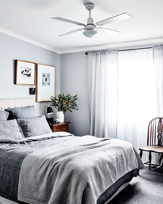 "The bedside table in the main bedroom came from the set of 1980s Australian TV show *Carson's Law*, which Kerrie worked on. The bed linen is from [Adairs](https://www.adairs.com.au/|target=""_blank""
