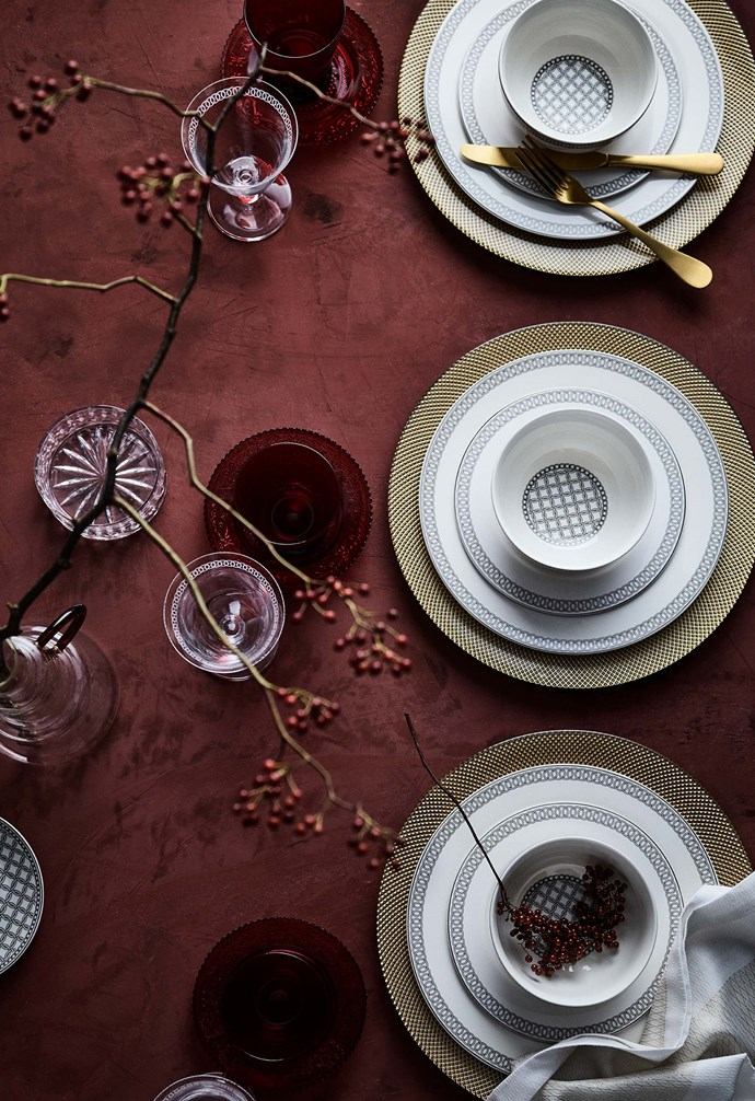 """**I'm dreaming of a red Christmas** Glass charger plate with criss-cross pattern, $27.95. [Zara Home](https://www.zarahome.com/au/