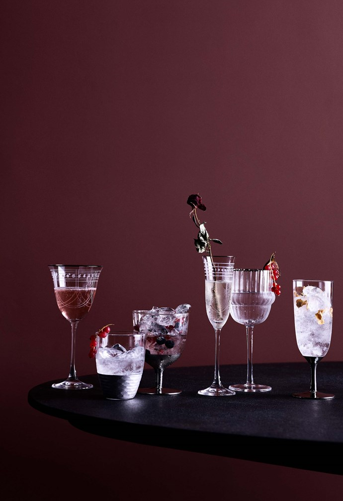 """**I'm dreaming of a red Christmas** Scalloped edge tumbler, $12.95. Scalloped edge wine glass $17.95. Wine glass with engraved detail, $19.95. Wine glass with silver base, $17.95. Champagne flute with silver base, $17.95. [Zara Home](https://www.zarahome.com/au/