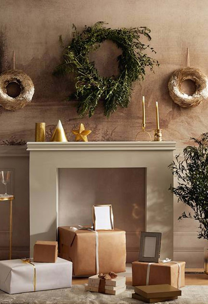 """**Sophisticated Christmas** Golden cylindrical candle, $19.95. Star-shaped candle, $27.95. Gold frame, $39.95. [Zara Home](https://www.zarahome.com/au/