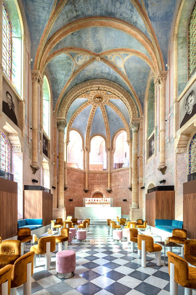 "The [19th-century Chapel](https://www.homestolove.com.au/19th-century-garden-restored-to-former-glory-3160|target=""_blank"") has been converted into a bar with Cini Boeri 'Botolo' chairs."