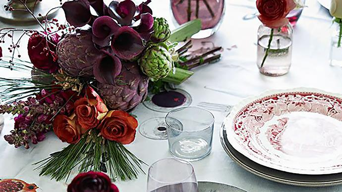 "**Table bouquet**: For an unfussy way to add interest to your [Christmas dining setting](https://www.homestolove.com.au/hosting-christmas-party-tips-19262|target=""_blank""), create a bouquet from freshly cut flowers and lay it in the centre of the table. Just be sure to pop the flowers in a vase once the feasting is over so you can enjoy the blooms all week long."