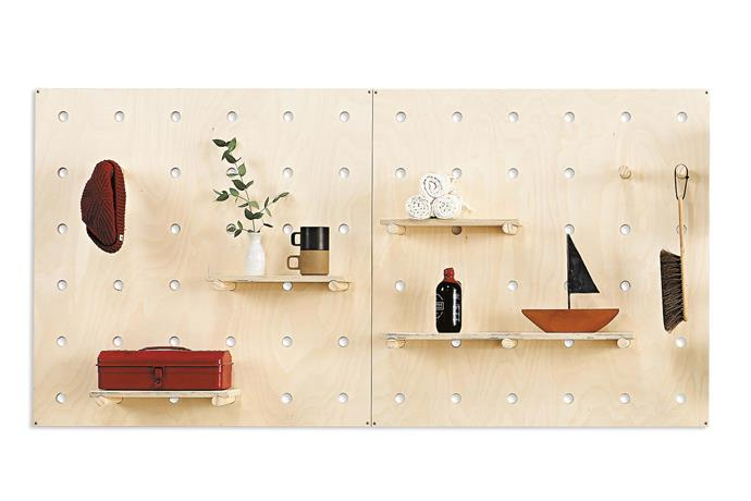 """**Creation** The Bang Bang Pegboard is a modular system where you can customise your shelving needs accordingly. *Image courtesy of [George & Willy](https://www.georgeandwilly.com/ target=""""_blank"""" rel=""""nofollow"""")*."""