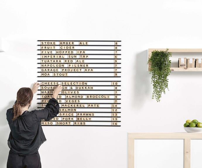 """**Creation** Their latest project is the letter display that comes with 10 rails and a minimum of 400 wooden letters and numbers. *Image courtesy of [George & Willy](https://www.georgeandwilly.com/ target=""""_blank"""" rel=""""nofollow"""")*."""