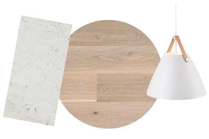 "**The moodboard** Athena benchtop, $590/lineal metre (installed), [Smartstone](https://www.smartstone.com.au/|target=""_blank""|rel=""nofollow""). 'Maison' PurePlank engineered timber flooring, $86/sqm, [Havwoods](https://www.havwoods.com.au/|target=""_blank""|rel=""nofollow""). Strap pendant, $900, [Lights Lights Lights](https://www.lightslightslights.com.au/|target=""_blank""|rel=""nofollow"")."