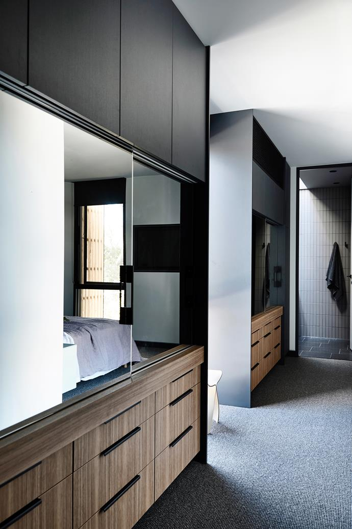 To ensure continuity throughout, the Navurban-clad cabinetry in the walk-in wardrobe is the same as the living areas.