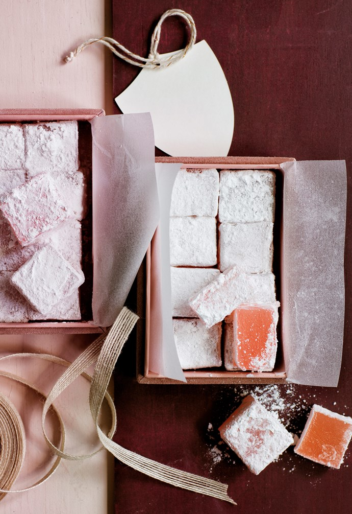 "**Turkish delight** Go straight for the sweet tooth with this thoughtful gift – rosy cubes of Turkish Delight are dusted with sugar and packed into a pink suede box from H&M Home, lined with paper and tied with an elegant ribbon. **Get the look** *Pink suede box, $24.99, [H&M Home](|target=""_blank""