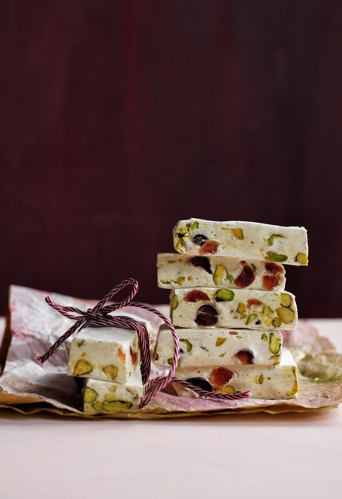 "**Pistachio and cherry nougat squares** Give the ultimate festive gift with bars of homemade nougat, packed with cherries and nuts, wrapped in candy-cane striped twine and delicate sheets of tissue paper. Red and white cord, [Vandoros](https://www.vandoros.com.au/|target=""_blank""