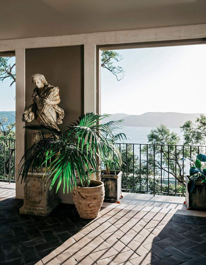 Vast Pittwater views are enjoyed from the conservatory. Kentia palm in Antico honey pot from Garden Life.