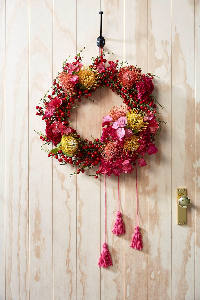 "**Native wreath** This [Australian native wreath](https://www.homestolove.com.au/australian-native-christmas-wreath-16632|target=""_blank"") uses a faux wreath as it's foundation. *Styling: Allira Bell 