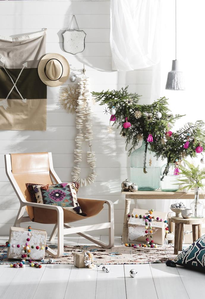 **Boho Brights Christmas** Chill out and pare it back with fun garlands, bold tassels and free-spirited colour. *Styling by Jono Fleming with assistance by Chris Xi, Melissa McMeekin, Romain Dossou-Yovo and Katelyn Tripodi | Photography: Sam McAdam-Cooper*.