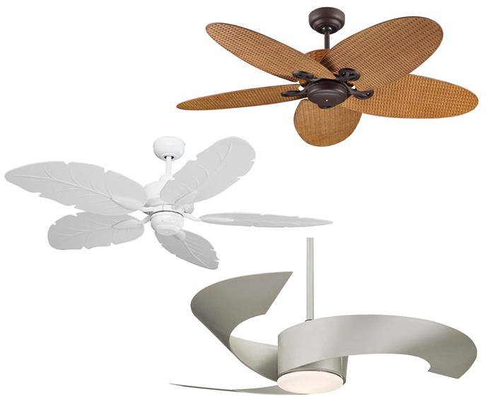 "**Get the look** (top down) 'Fijian II' 132cm fan, $369, [Beacon Lighting](https://www.beaconlighting.com.au/|target=""_blank""