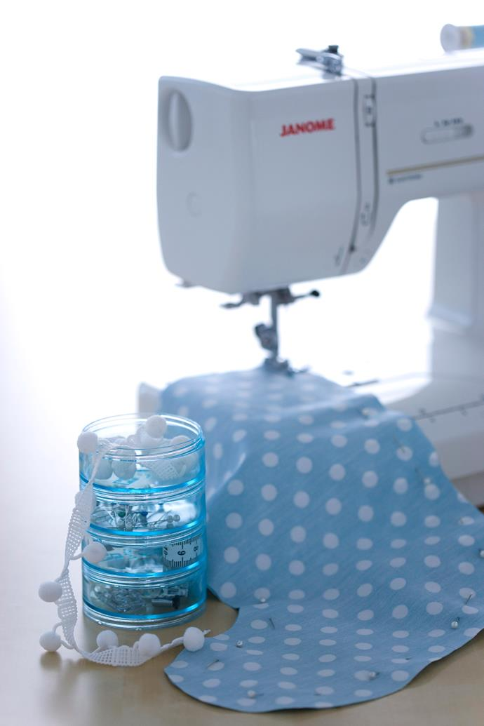 After pinning together the shapes, machine sew the edges. It's important to leave a small gap in the seam to allow the hobby fill to be inserted. *Photo: Maree Homer / bauersyndication.com.au*