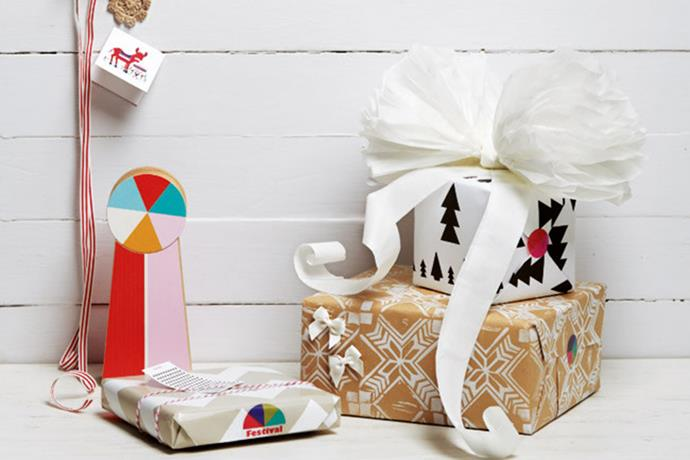 **Festival** - Clashing colours and funky, out-of-the-box designs are what make up the 'festival' Christmas wrapping theme. There's really only one rule here: select any gift wrap you like, as long as the pattern makes you want to pop open a bottle of bubbly and hit the dance floor.