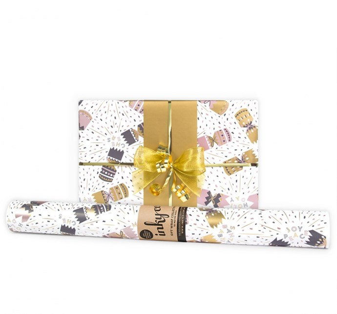 "'Crackers' **wrapping paper**, $16 (for 10m roll), from [InkyCo.](https://www.inkyco.com.au/crackers.html |target=""_blank""