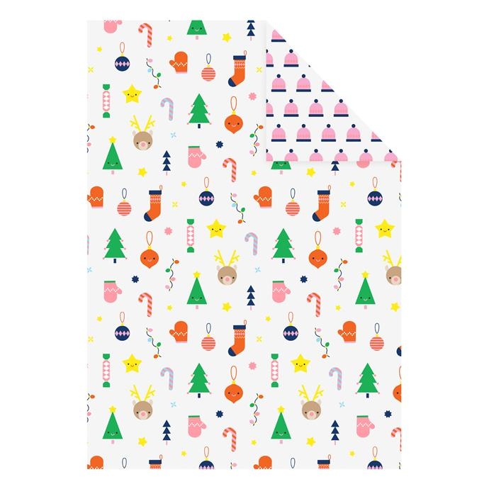 "'Christmas' individual reversible **wrapping sheet**, $3.95 (for a 710 x 490mm sheet), from [Kikki K](https://fave.co/2Pnuq1S|target=""_blank""