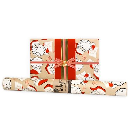 "'Retro Santa' **wrapping paper**, $16 (for 10m roll), from [InkyCo.](https://www.inkyco.com.au/retro-santa-kraft.html|target=""_blank""
