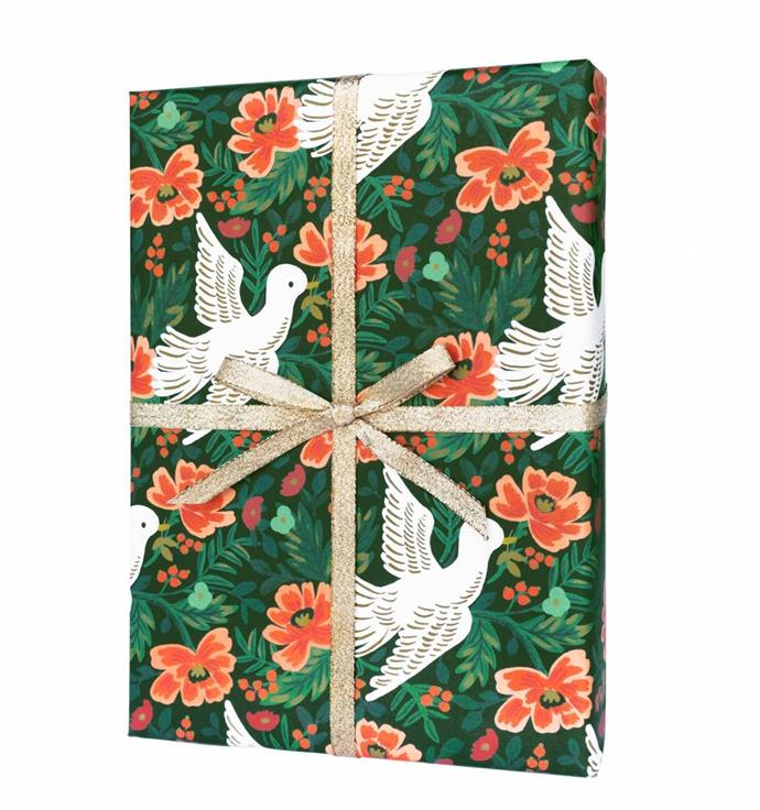 "'Peace dove' holiday wrapping paper, $8.50 for a set of three rolled sheets, from [Rifle Paper Co.](https://riflepaperco.com/catalog/product/view/id/5229/s/peace-dove/category/508/ |target=""_blank""