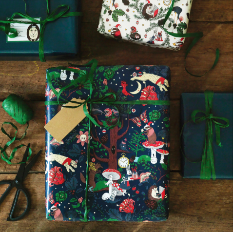 """'Vinter 2018' **gift wrap**, $2.99 (for a 4m roll), from [IKEA](https://fave.co/2Pmpdr8
