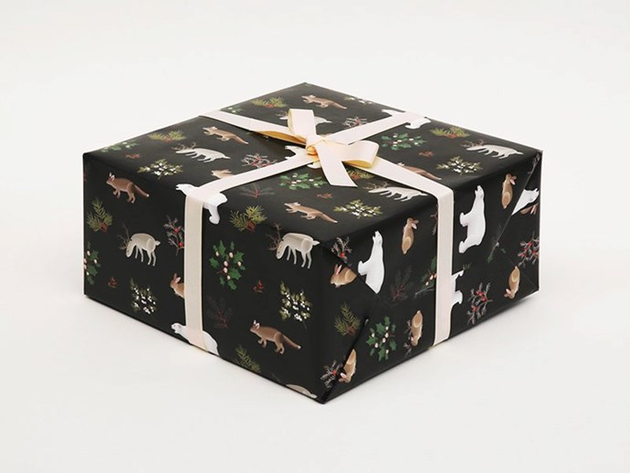 "Winter animals Christmas **wrapping paper** in black, $15.71(for a set of three rolled sheets), from [Etsy](https://fave.co/2Pl7kJ8|target=""_blank""
