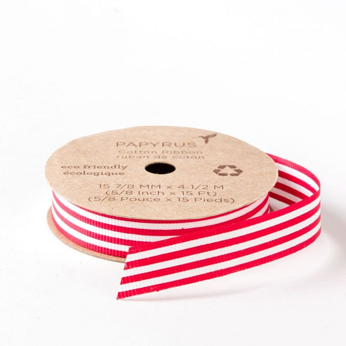 "Eco-friendly 'candy cane' **ribbon**, $6.95, from [Papyrus](https://www.papyrusonline.com/5-8-eco-friendly-candy-cane-ribbon|target=""_blank"")."