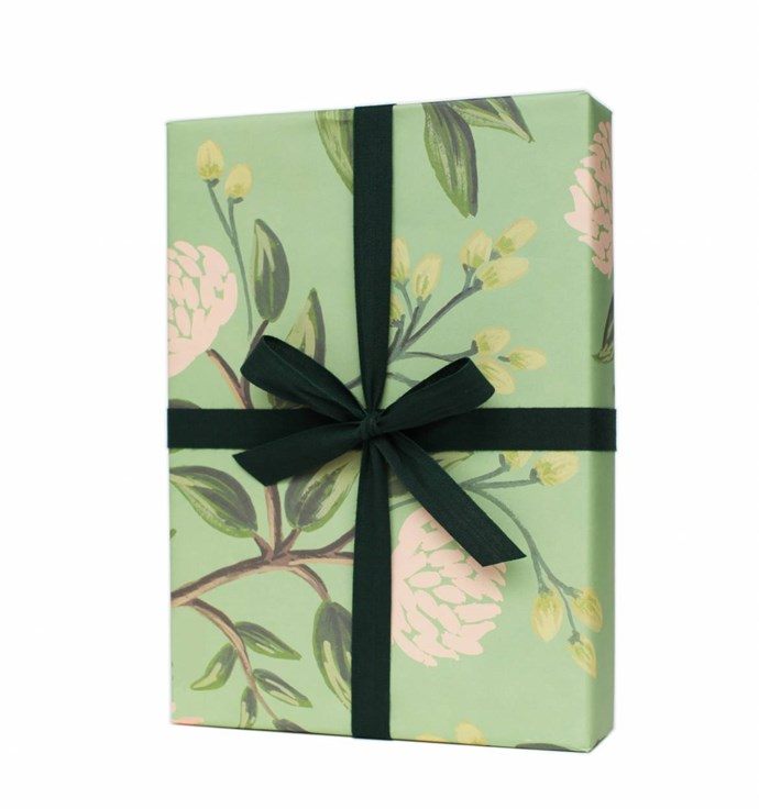 "'Emerald Peonies' **wrapping paper**, $8.50 (for a set of three rolled sheets), from [Rifle Paper Co.](https://riflepaperco.com/shop/occasions/gift-wrap/emerald-peonies-wrapping-sheets/|target=""_blank""