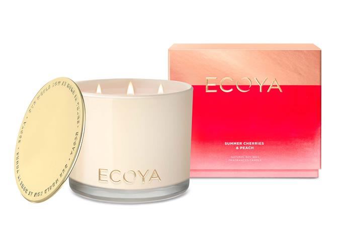 """**Sweet light** Ecoya's range of candles are available in a range of sizes depending on how much light (and scent) you'd like to add in the room. The soft flicker of candlelight will add a soft touch. *Image courtesy of [Ecoya](https://www.ecoya.com.au/
