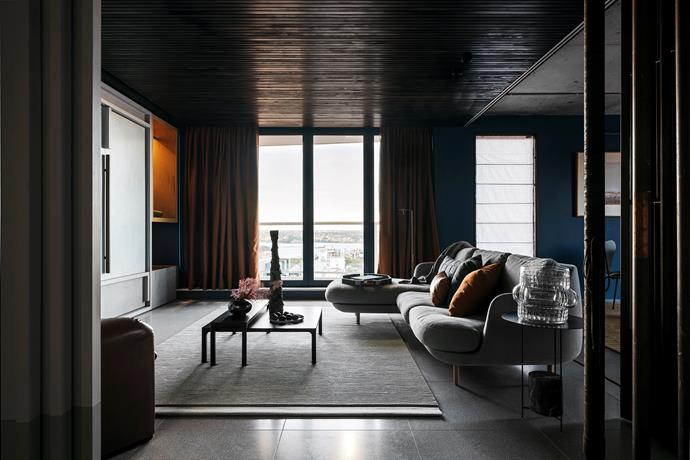 Fritz Hansen 'Lune' sofa by Jaime Hayon and NAU 'Molloy' coffee table by Adam Goodrum, both from Cult, on a Dune 'Module' rug from Hub. Viabizzuno 'Roy Lettura' floor lamp.