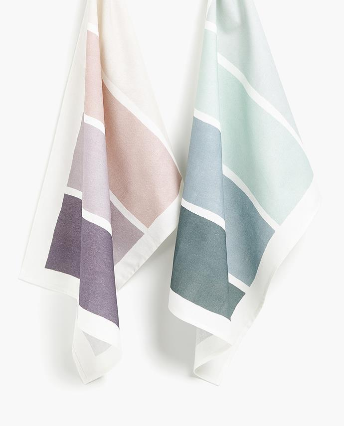 "Colour block **tea towels**, $19.95 (set of 2), from [Zara Home](https://fave.co/2PTzZnV|target=""_blank""|rel=""nofollow""|target=""_blank""|rel=""nofollow"")."