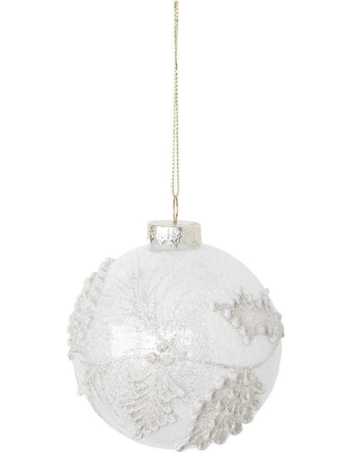 """Luxe white glass **bauble** with glitter edged pinecones, $12.99, from [Myer](https://fave.co/2DfFN4q