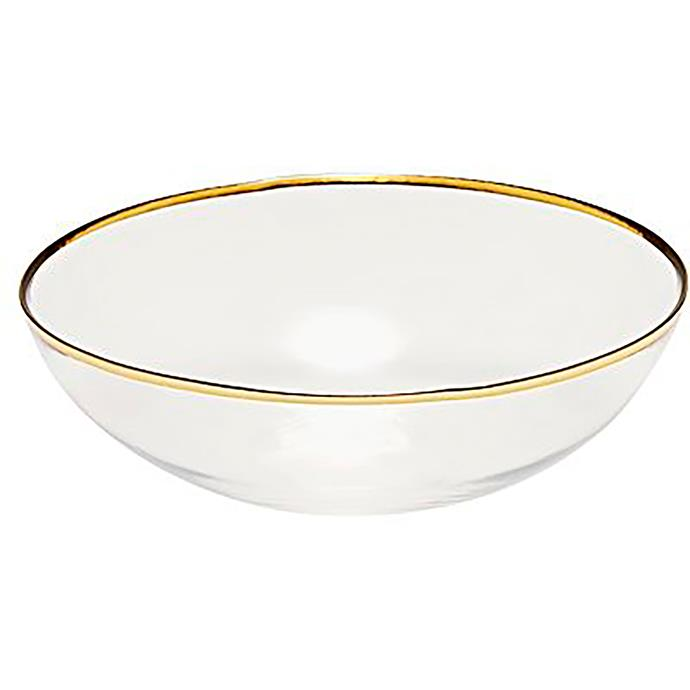 "Salt n Pepper 'Valencia' large gold rim **bowl**, $13.95, from [Zanui](https://fave.co/2Dismkc|target=""_blank""|rel=""nofollow"")."