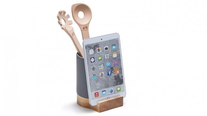 "Salt & Pepper 'Hudson' utensil holder & iPad/cookbook stand, $29, from [Domayne](https://www.domayne.com.au/salt-pepper-hudson-utensil-holder-ipad-cookbook-stand-charcoal.html|target=""_blank""|rel=""nofollow"")."