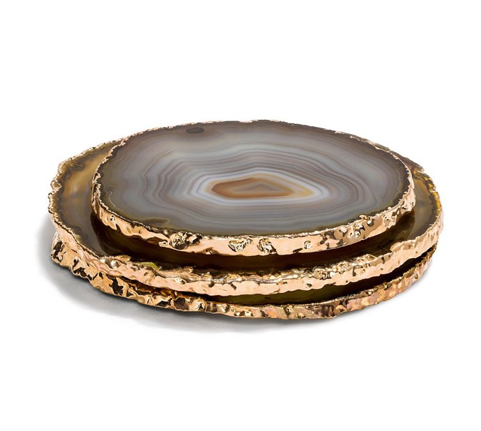 "Agate large coasters in natural (blue grey or brown) with gold rim, $32, from [Neue Blvd](https://www.neueblvd.com.au/products/agatecoasters?variant=12348135833680|target=""_blank""