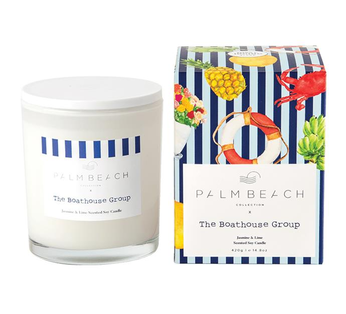 """Limited edition 'The Boathouse' jasmine and lime scented candle, $42.95, from [Palm Beach Collection](https://palmbeachcollection.com.au/product/limited-edition-the-boathouse-jasmine-lime/