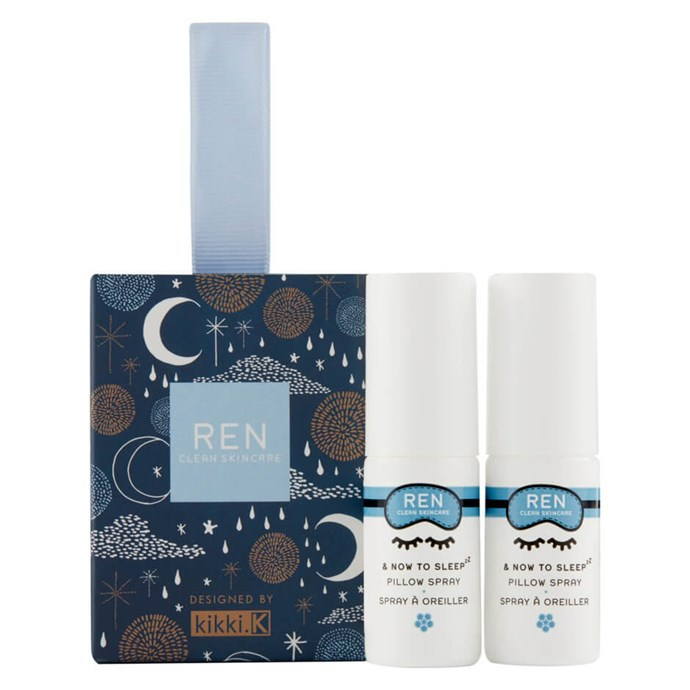 """Ren Clean Skincare 'Now to Sleep' pillow sprays, $23, from [Mecca](https://www.mecca.com.au/ren-clean-skincare/now-to-sleep-duo/I-034534.html