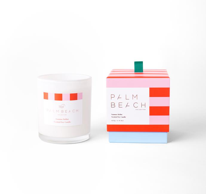 "Summer Bellini Christmas Standard Candle, $39.95, [Palm Beach Co.](https://palmbeachcollection.com.au/product/limited-edition-christmas-2018-summer-bellini/|target=""_blank""