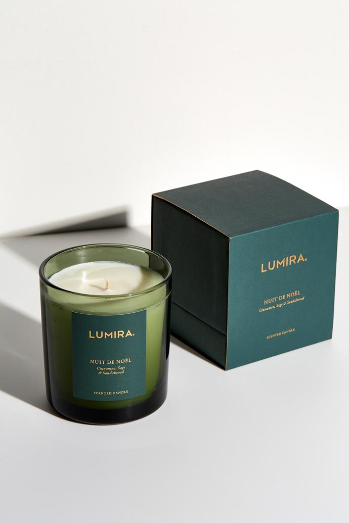 "Nuit De Noel candle, $69, [Lumira](https://www.atelierlumira.com/home-fragrance/nuit-de-noel |target=""_blank""