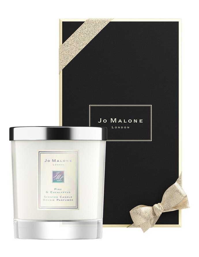 "Pine & Eucalyptus Home Candle, $92, [Jo Malone](https://www.jomalone.com.au/product/25486/68646/fragrances/limited-editions/holiday-gifts-fy20/pine-eucalyptus/pine-eucalyptus-home-candle|target=""_blank""